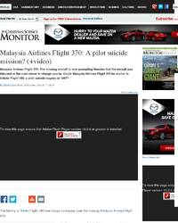 Malaysia Airlines Flight 370 pilot suicide mission: Christian Science Monitor